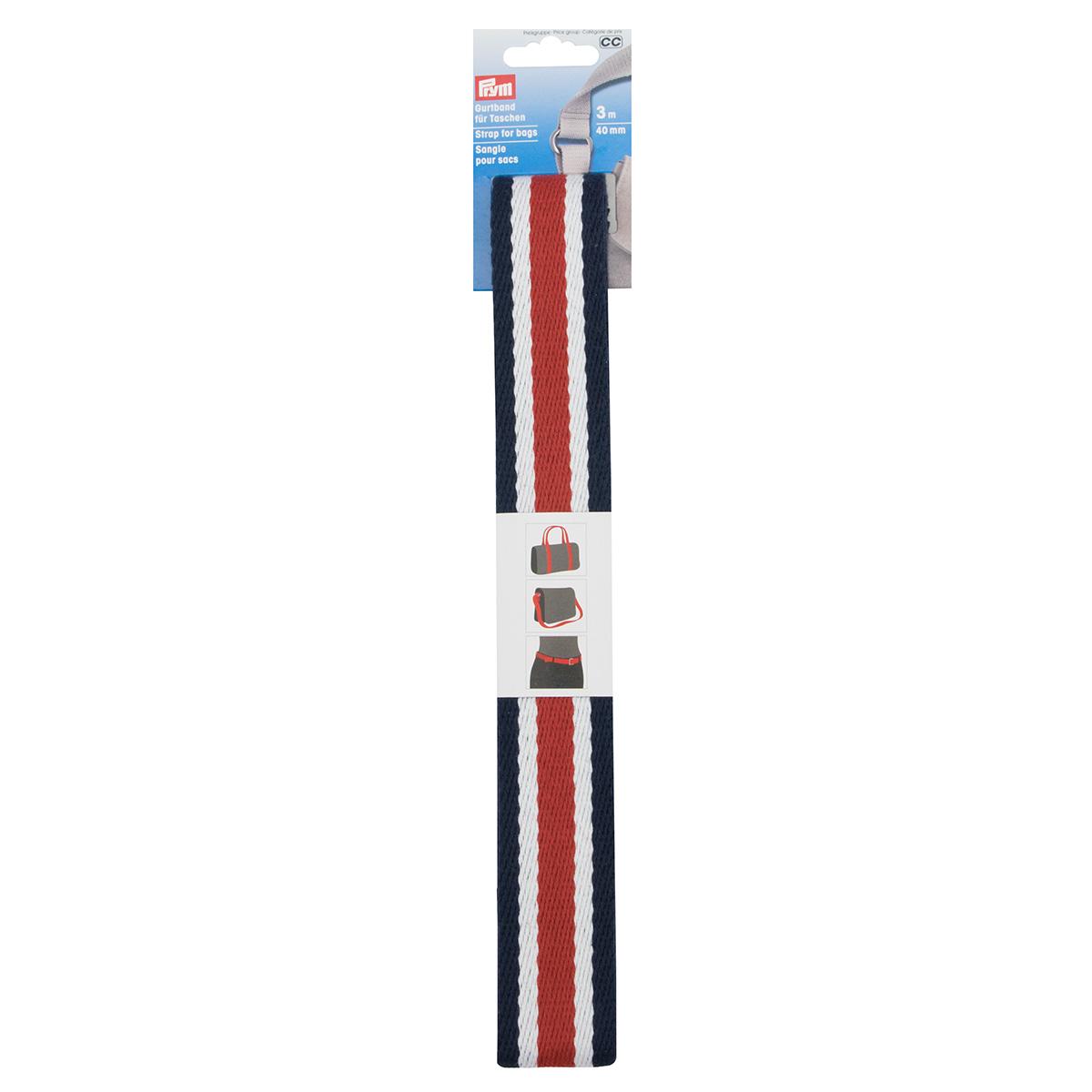 965215 Лента-ремень для сумок 40мм, 300см, син/бел/красн Prym