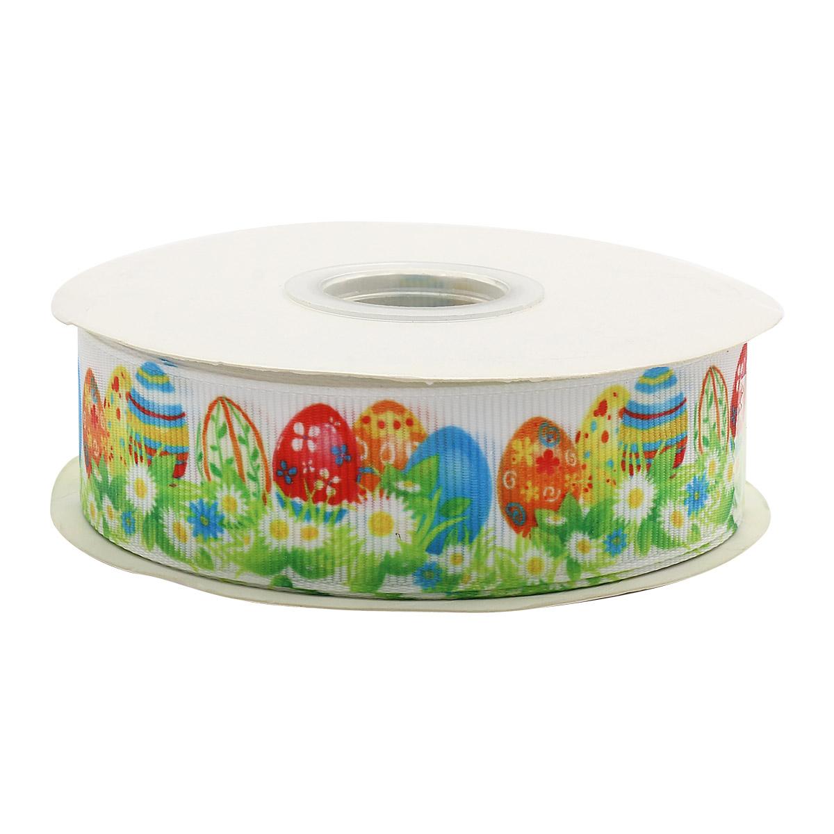Лента репсовая 'Пасхальные яйца на траве' 25мм*22,86м