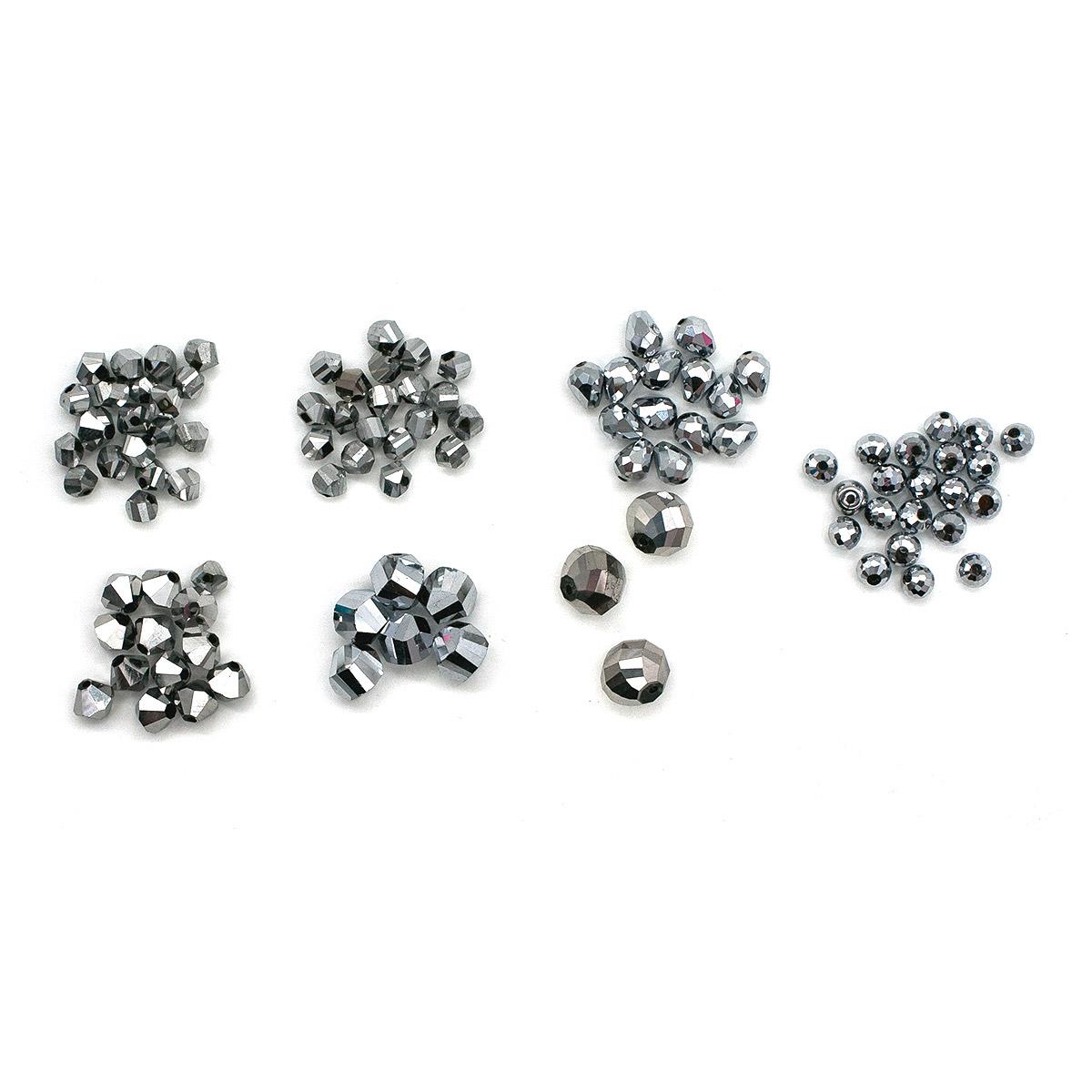 Набор стеклянных бусин 'Холодное серебро', 95+/-2 шт, Астра