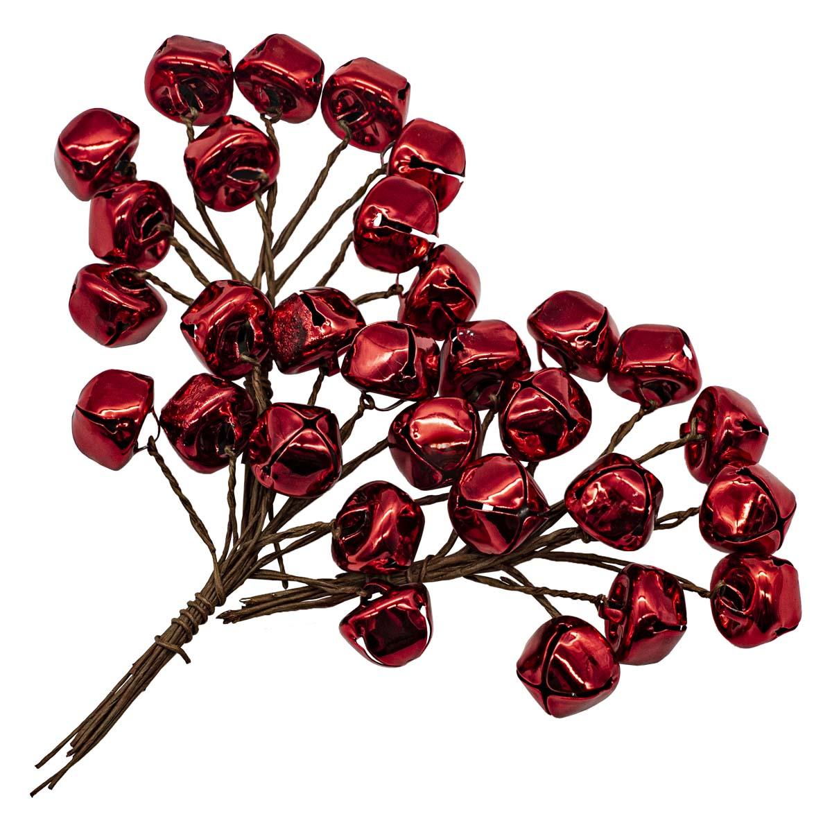 XY19-781 Бубенчики на ветке, красные, 1.5см, 30шт/упак.