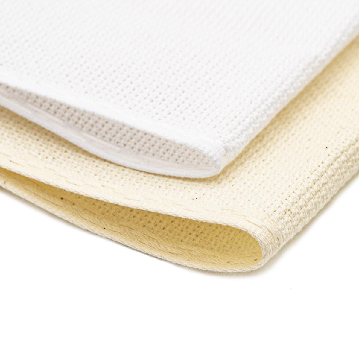 Набор канвы-ленты c обработанным краем 14ct, 1,5м*10см, 2шт, натуральный и белый цвета, Bestex