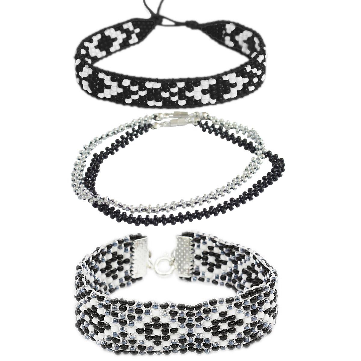 Набор для бисероплетения Hobby & Pro pearl Браслеты 'Черно-белая Классика'