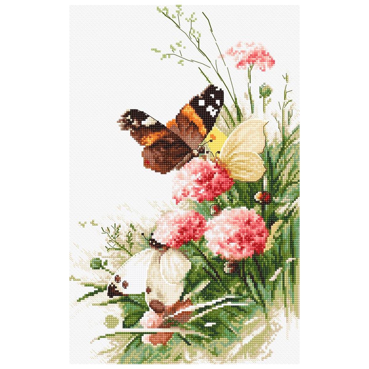 Leti938 Набор для вышивания LetiStitch 'Бабочки в поле' 27*17см