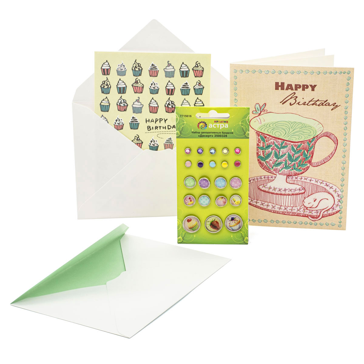 Набор открыток и декоративных брадсов 'Happy Birthday', 12*17 см