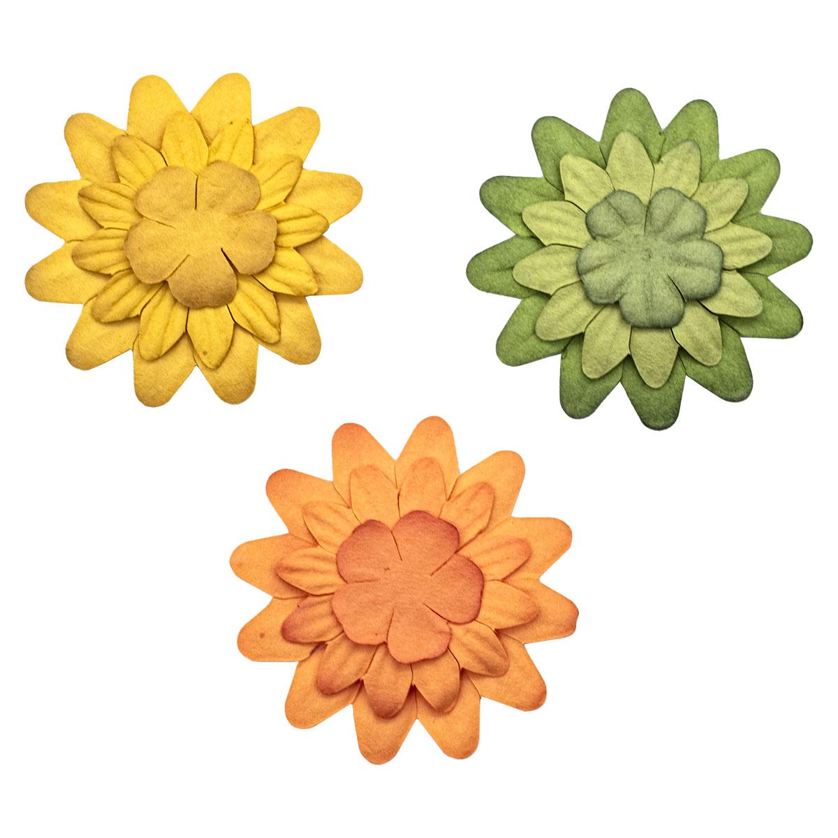 Набор принтованных бумажных цветочков 'Осеннее ассорти' 20мм, 35мм, 50мм, 180шт