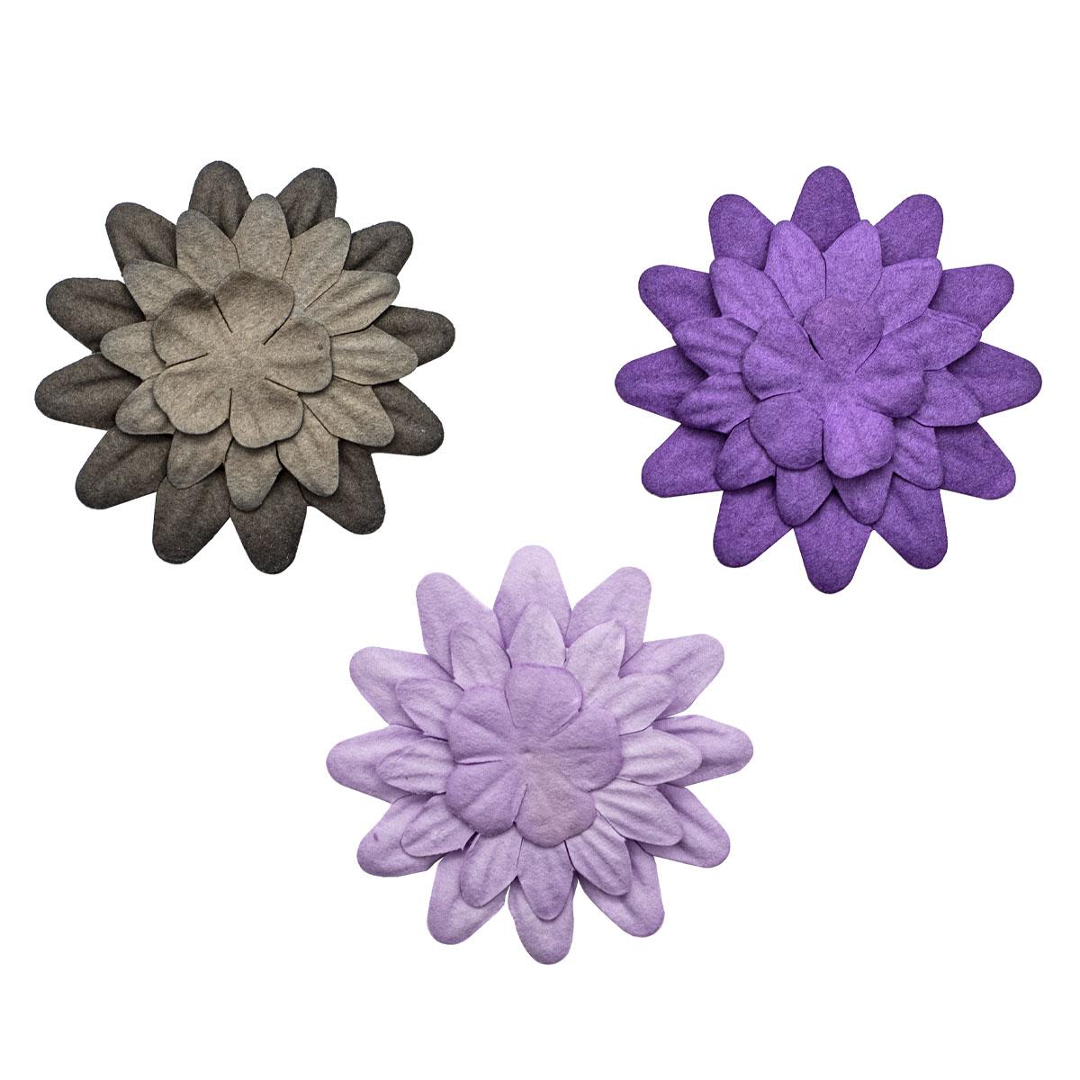 Набор принтованных бумажных цветочков 'Фиолетово-черное ассорти' 20мм, 35мм, 50мм, 180шт