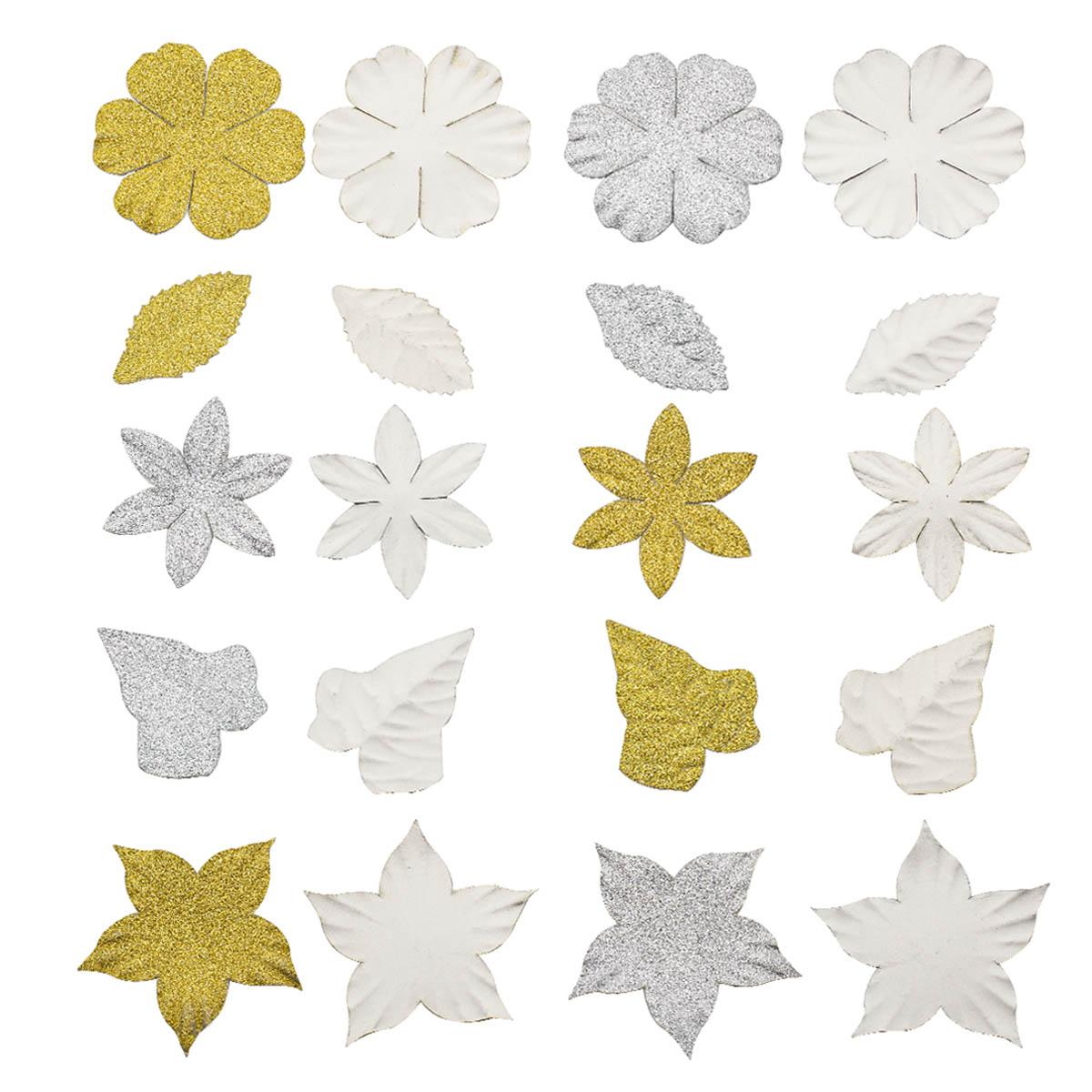 Набор бумажных лепестков с блестками 'Серебрянно-золотой микс' 80шт Астра