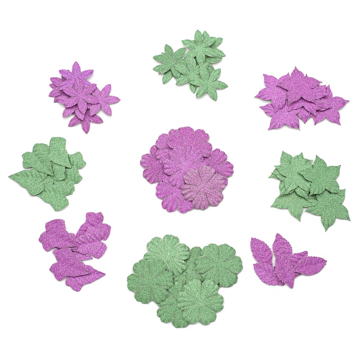 Набор бумажных лепестков с блестками 'Фиолетово-зеленый микс' 72 шт