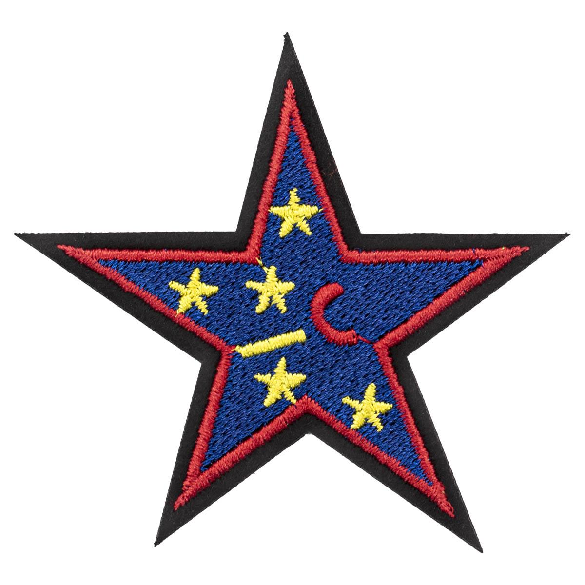 Термоаппликация 'Синяя звезда', 6.9*6.3см