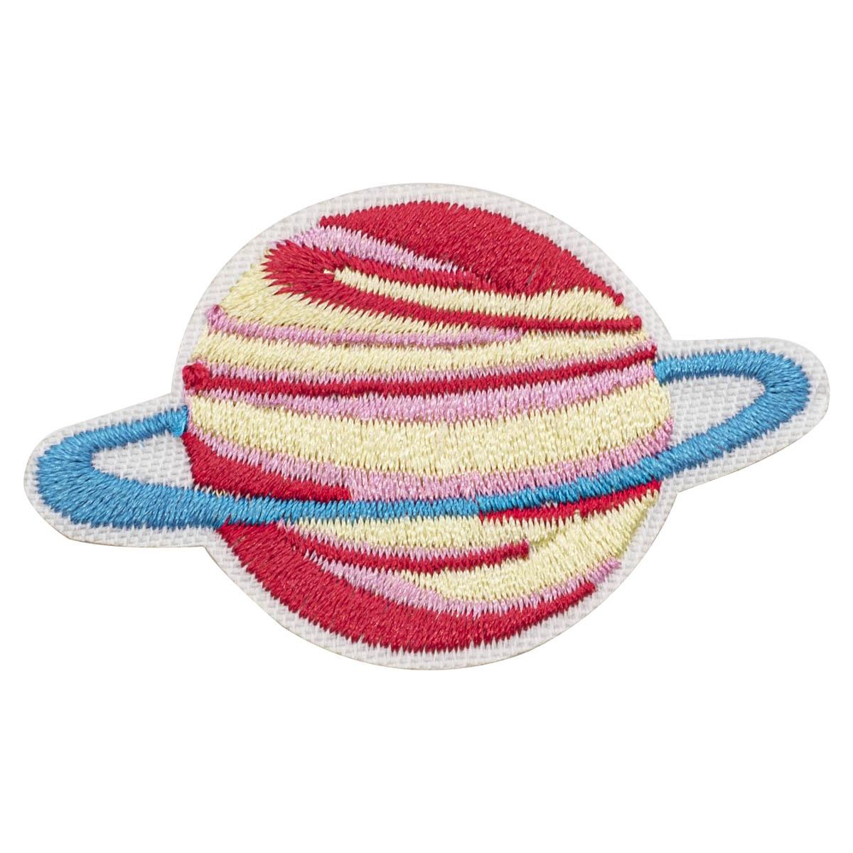 Термоаппликация 'Бело-розова я планета с голубым кольцом', 6.6*4.1см
