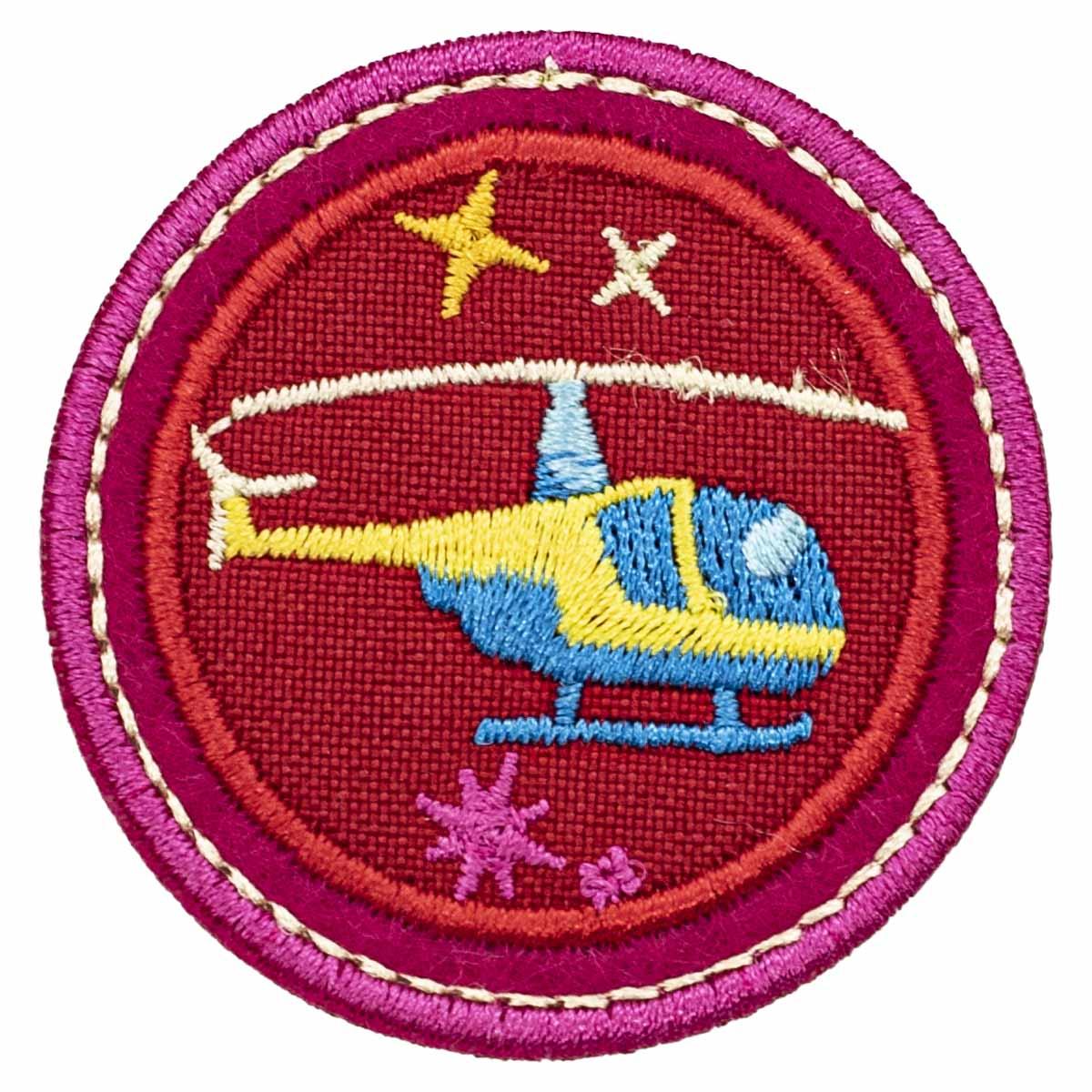 Термоаппликация 'Вертолет на красном фоне', 4.7*4.7см