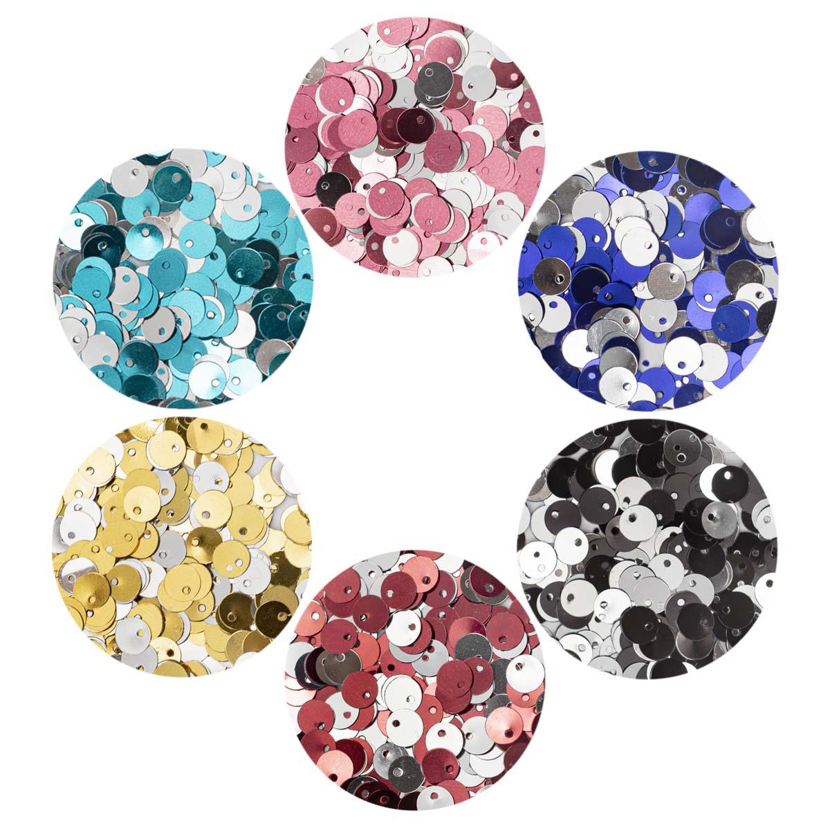Набор серебристых двусторонних пайеток 6мм, 6 цветов по 10гр, Астра