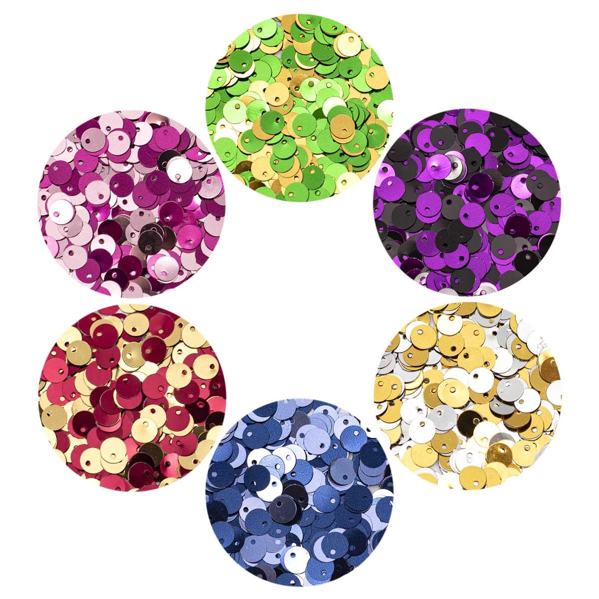 Набор цветных двусторонних пайеток 6мм, 6 цветов по 10гр, Астра