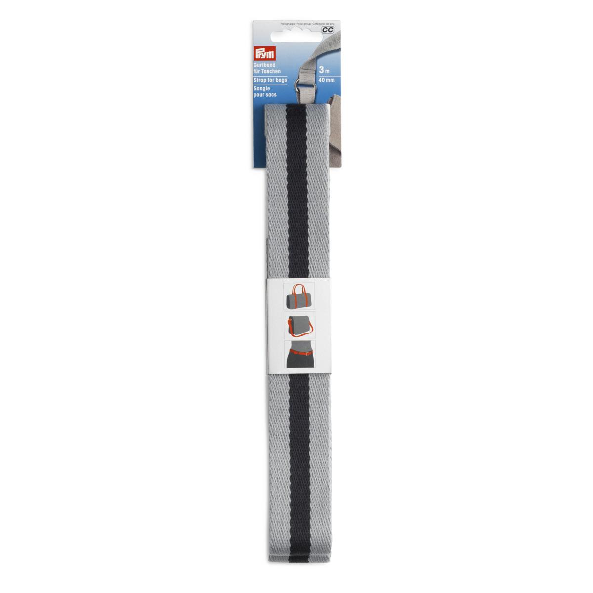 965214 Лента-ремень для сумок 40мм*3м цв.серый/синий Prym