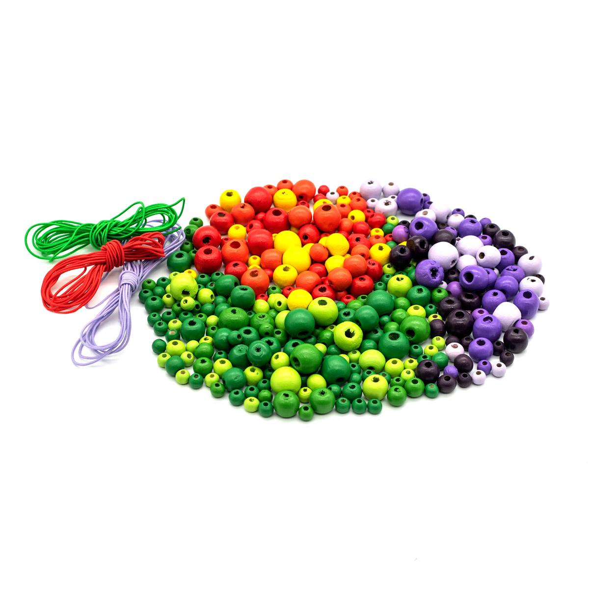 Набор деревянных бусин со шнуром, красно-фиолетово-зеленый микс, 6-12мм, 270шт, Астра