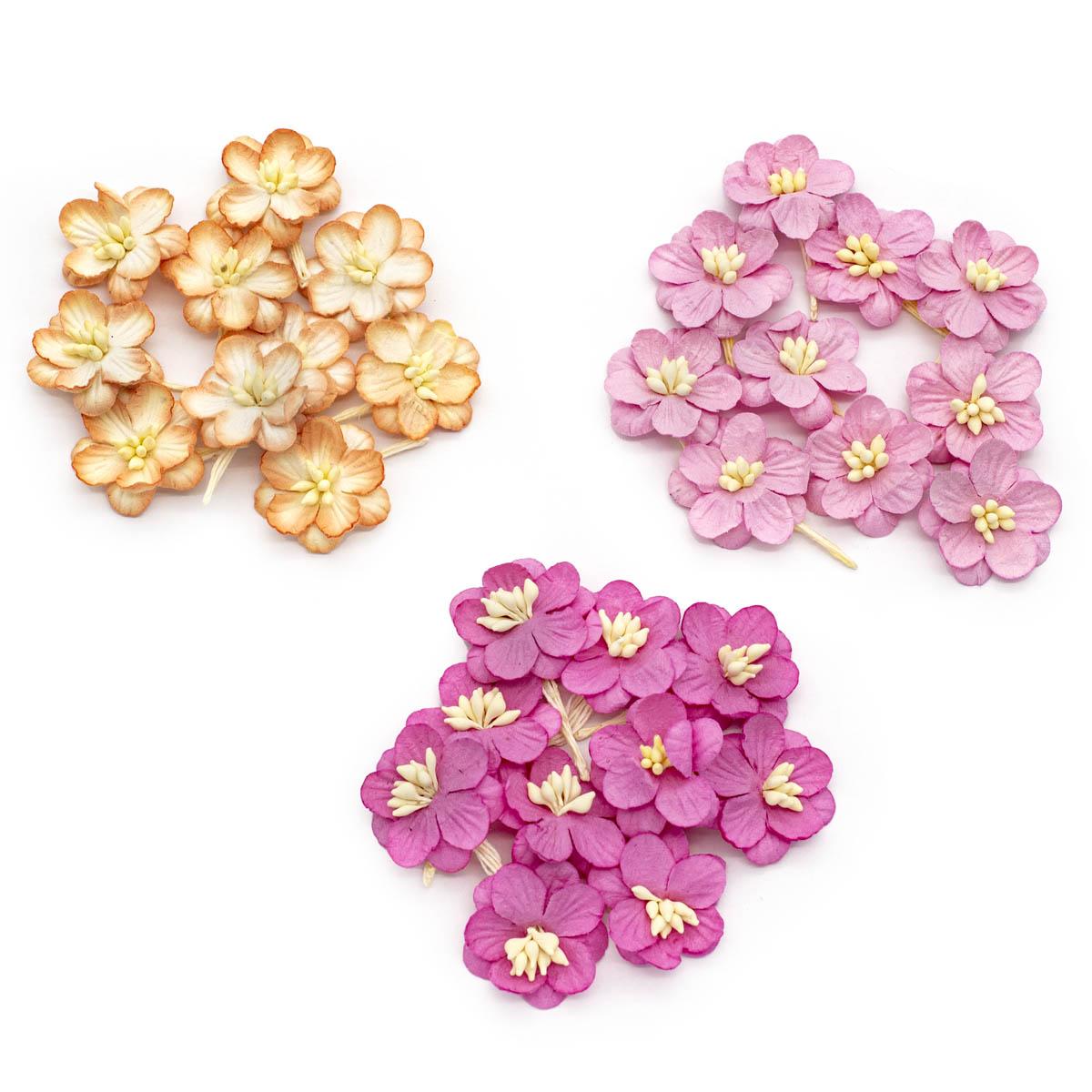 Набор цветки вишни из бумаги, персиковый, яркий розовый, нежная роза, 30 шт, Астра