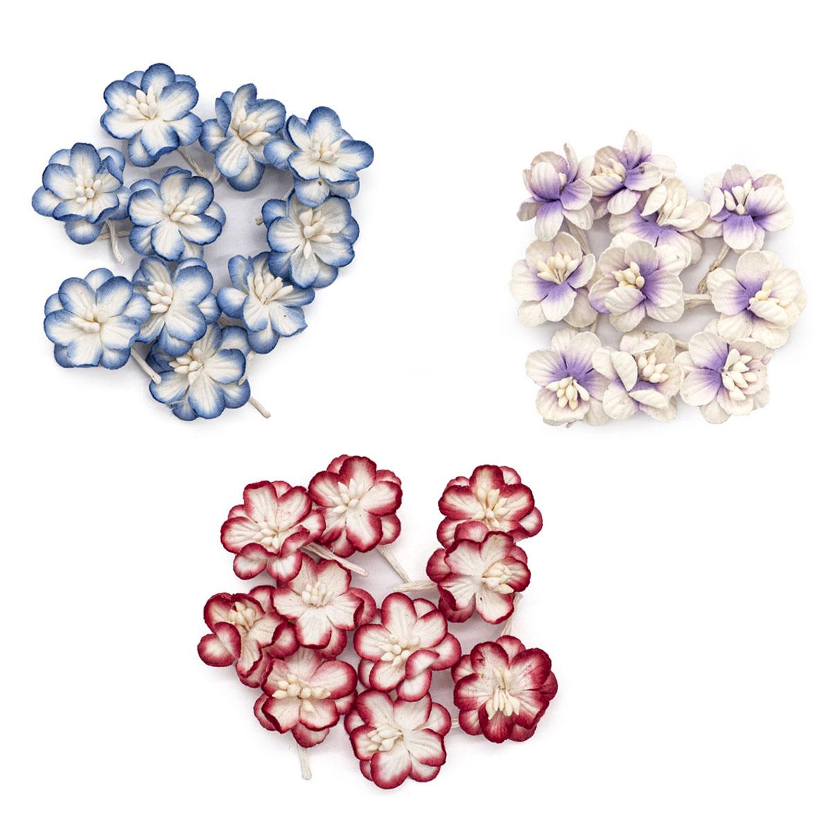 Набор цветки вишни из бумаги, бело-синий, красно-белый, фиолетово-белый, 30 шт, Астра
