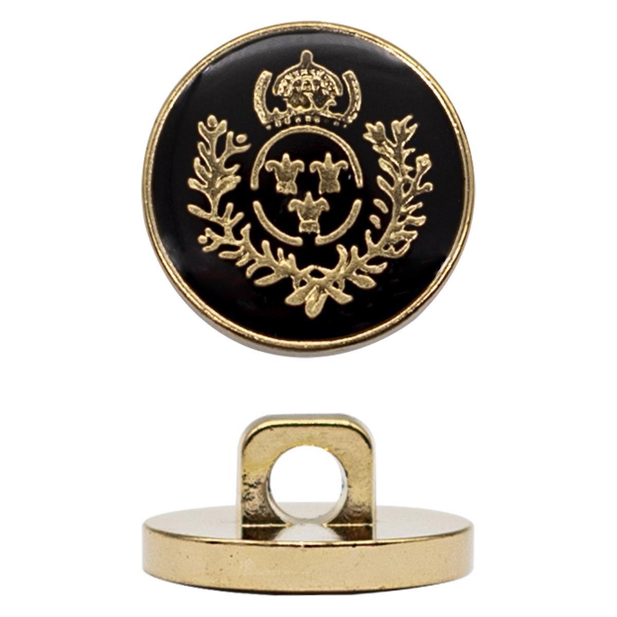 Пуговица на ножке 24L, герб, цв. черный с золотом, 12 шт/упак