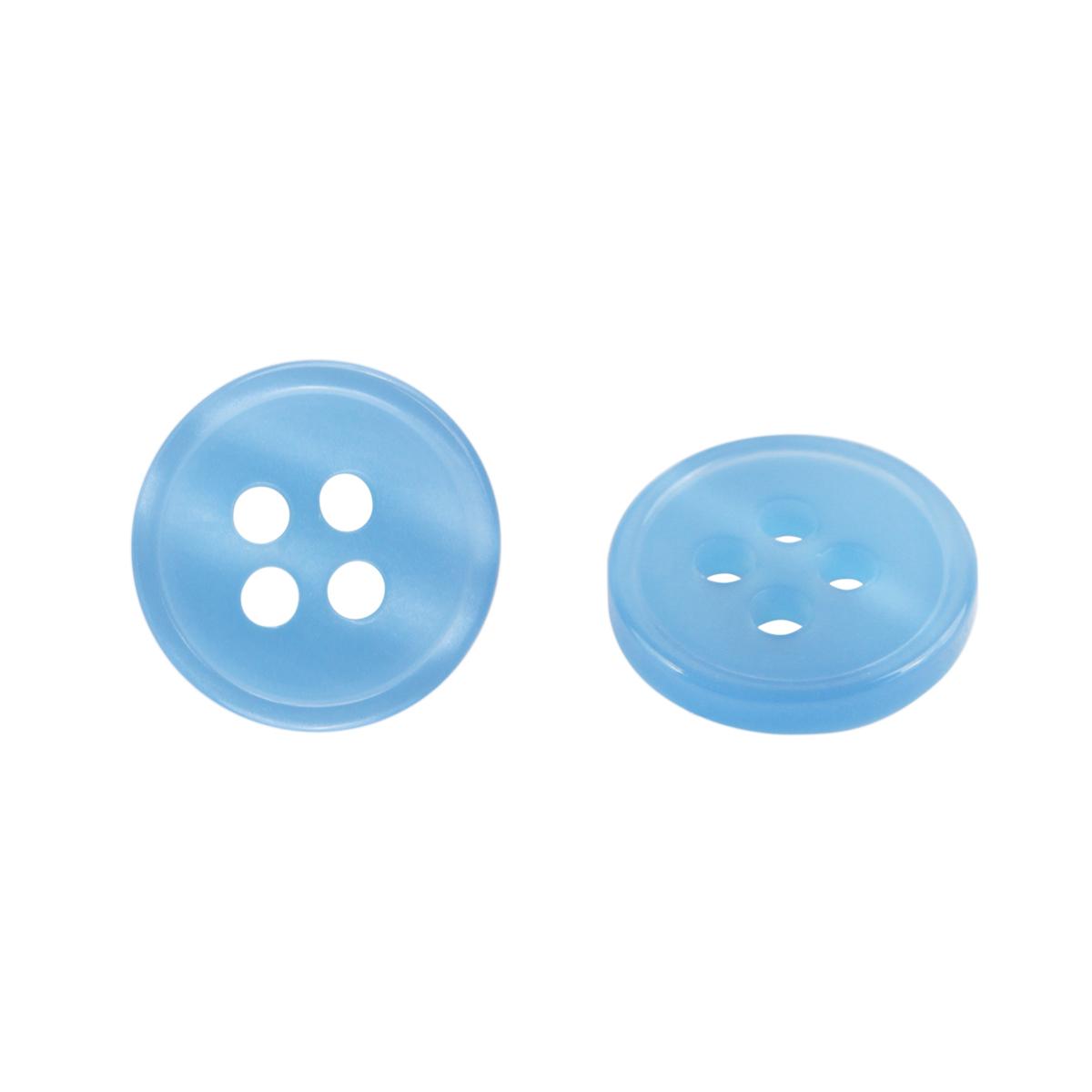 Пуговица на прокол 18L, цв. голубой перламутр, 15 шт/упак