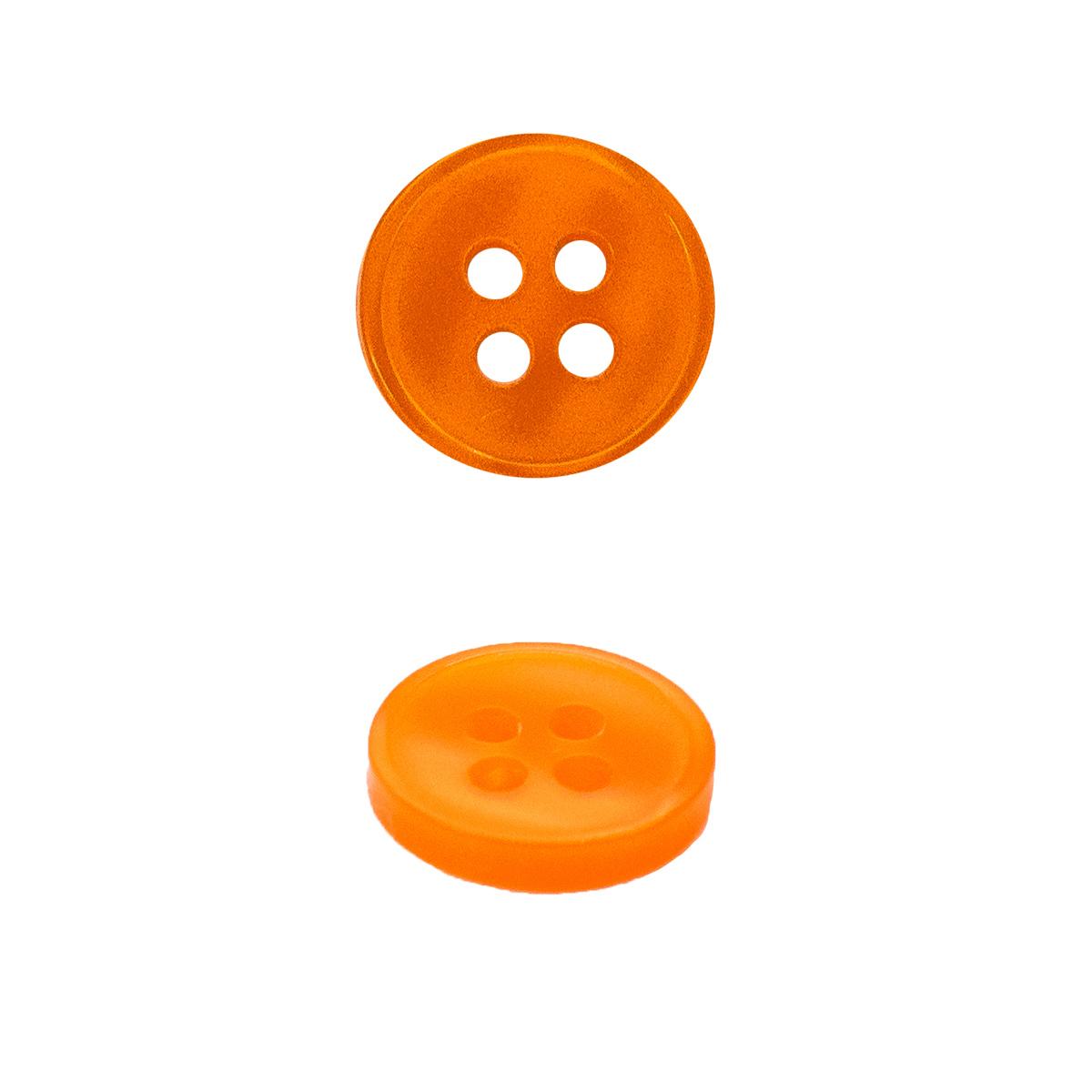 Пуговица на прокол 18L, цв. оранжевый, 15 шт/упак