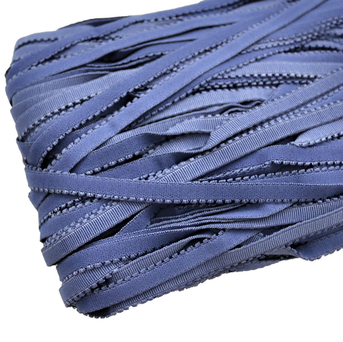 STD/28 эластичная ажурная лента 8мм*50м, сине-серый