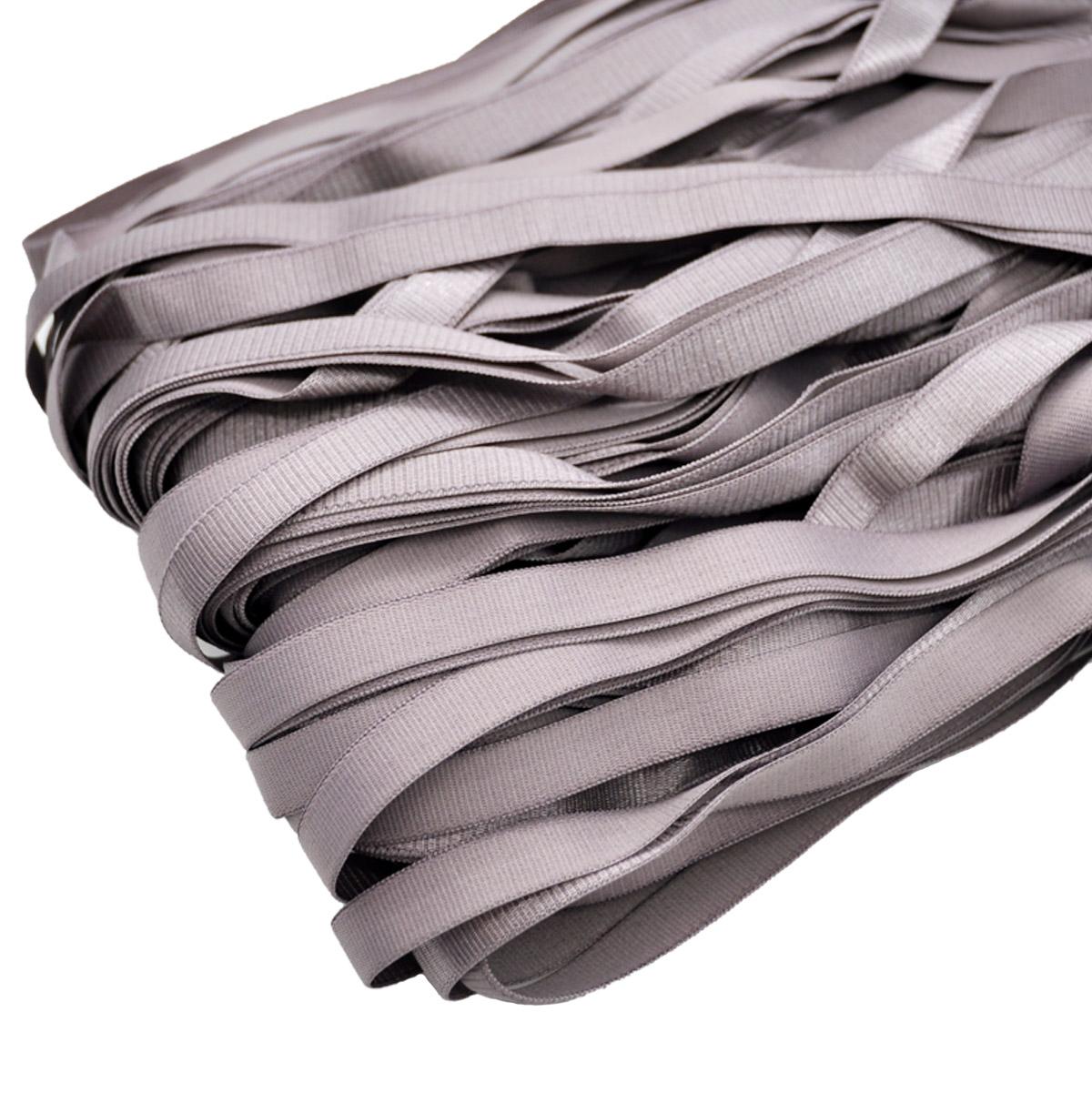 STP/15 эластичная бретелечная атласная лента 12мм*50м, серо-сиреневый