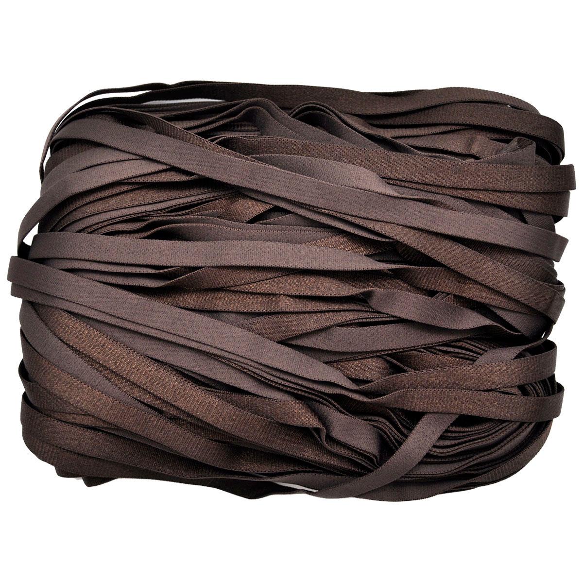 STP/48 эластичная бретелечная глянцевая лента 10мм*50м, горький шоколад