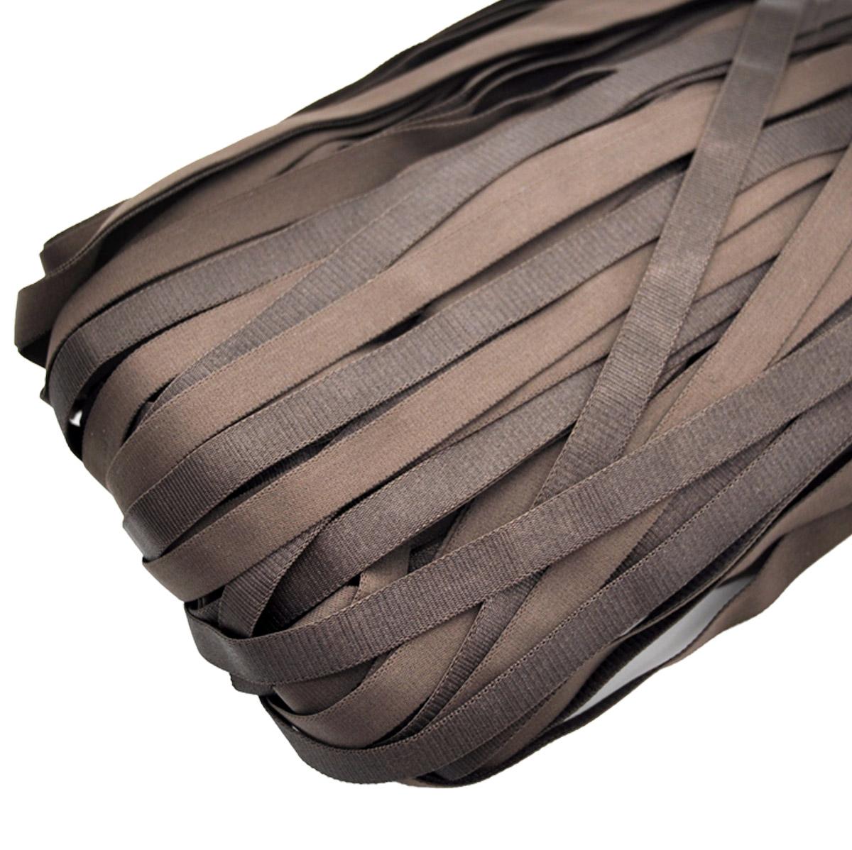 STP/49 эластичная бретелечная глянцевая лента 12мм*50м, шоколад