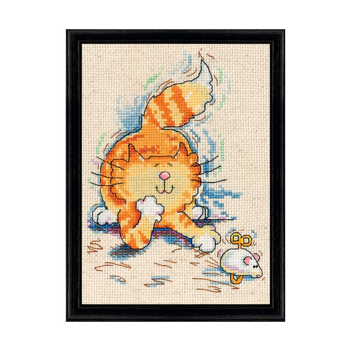 2873 DWC Набор для вышивания 'Кот с мышкой' 13х18 см