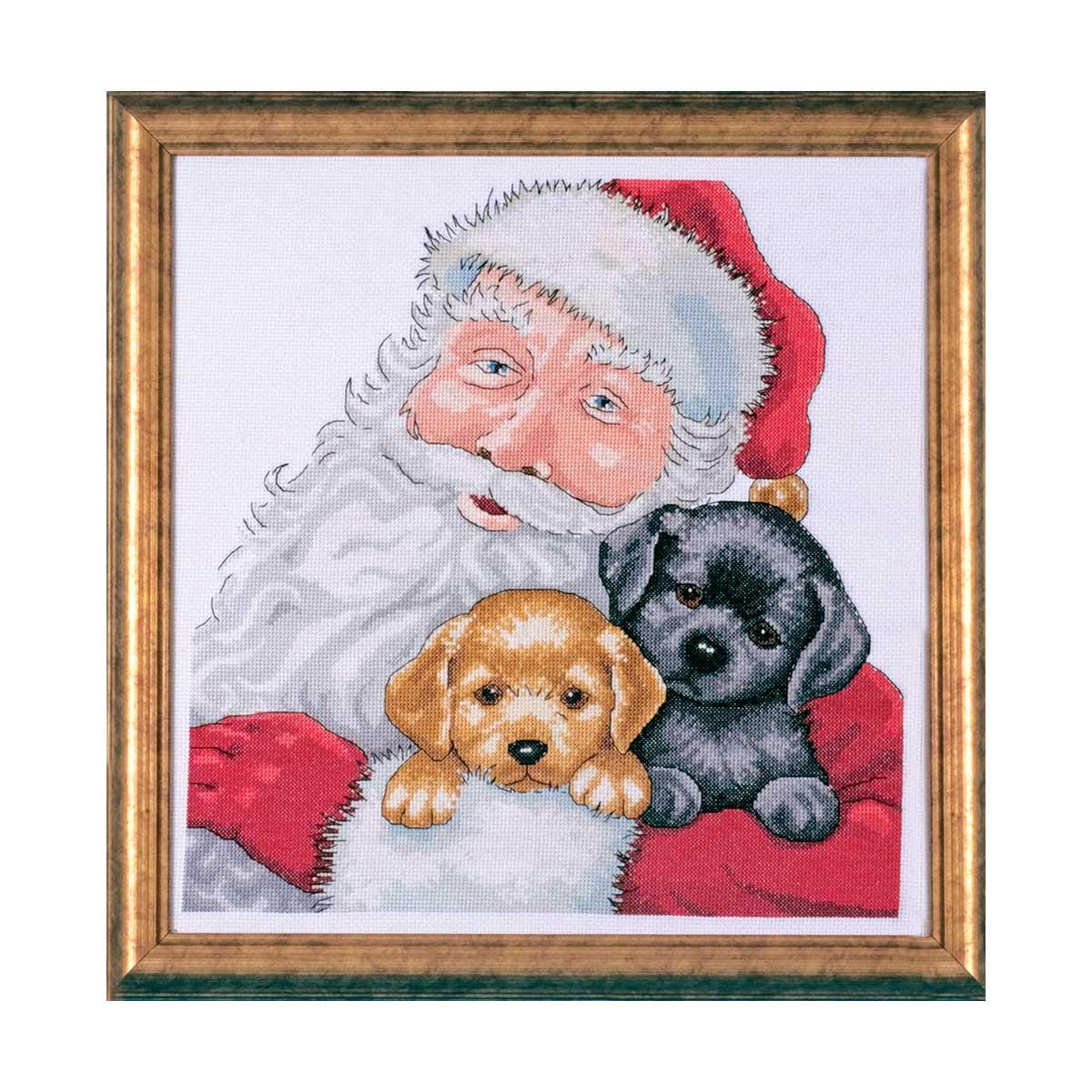 5978 DWC Набор для вышивания 'Санта со щенками' 33х33 см