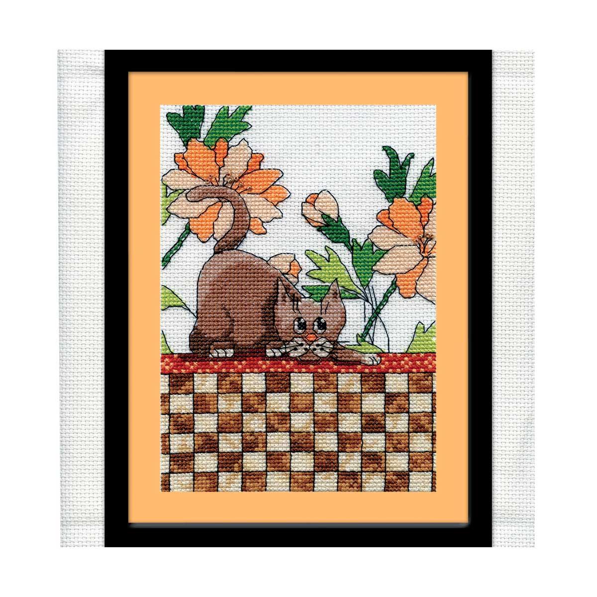 2804 DWC Набор для вышивания 'Кот на клетчатом покрывале' 13х18 см