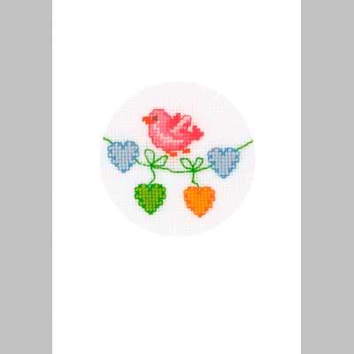 2050-12112 Набор для вышивания открытка и конверт 'Птичка' Vervaco 10,5*15см фото