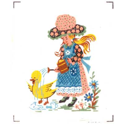 1522- duck Канва с рисунком 'Девочка с утенком'