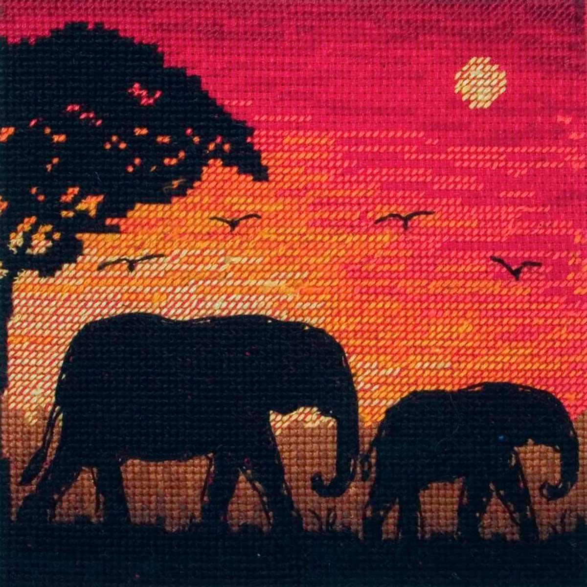 5678-5017 MAIA Набор для вышивания 'Силуеты слонов' 13х13 см