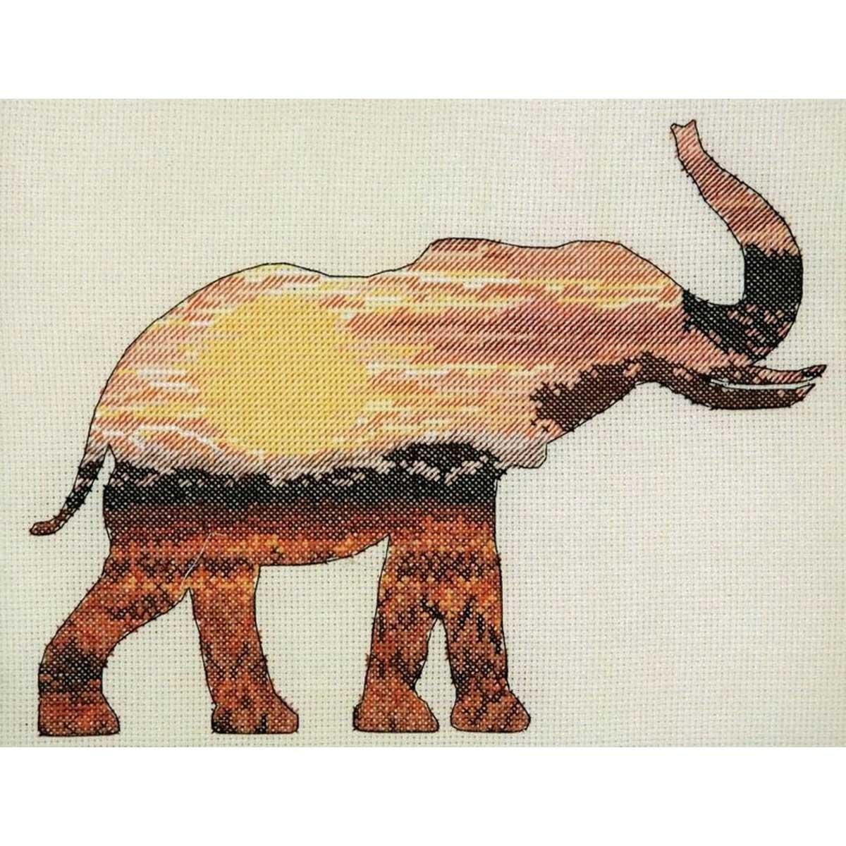 5678-5040 MAIA Набор для вышивания 'Слон в саванне' 20х26 см