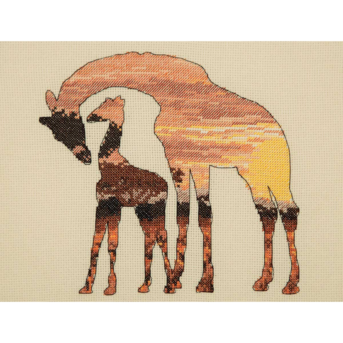 5678-5042 MAIA Набор для вышивания 'Жирафы в саванне' 20х26 см