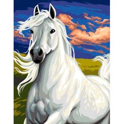 9880-0142-0496 Канва с рисунком Royal Paris 'Белый конь' 47,5х37 см