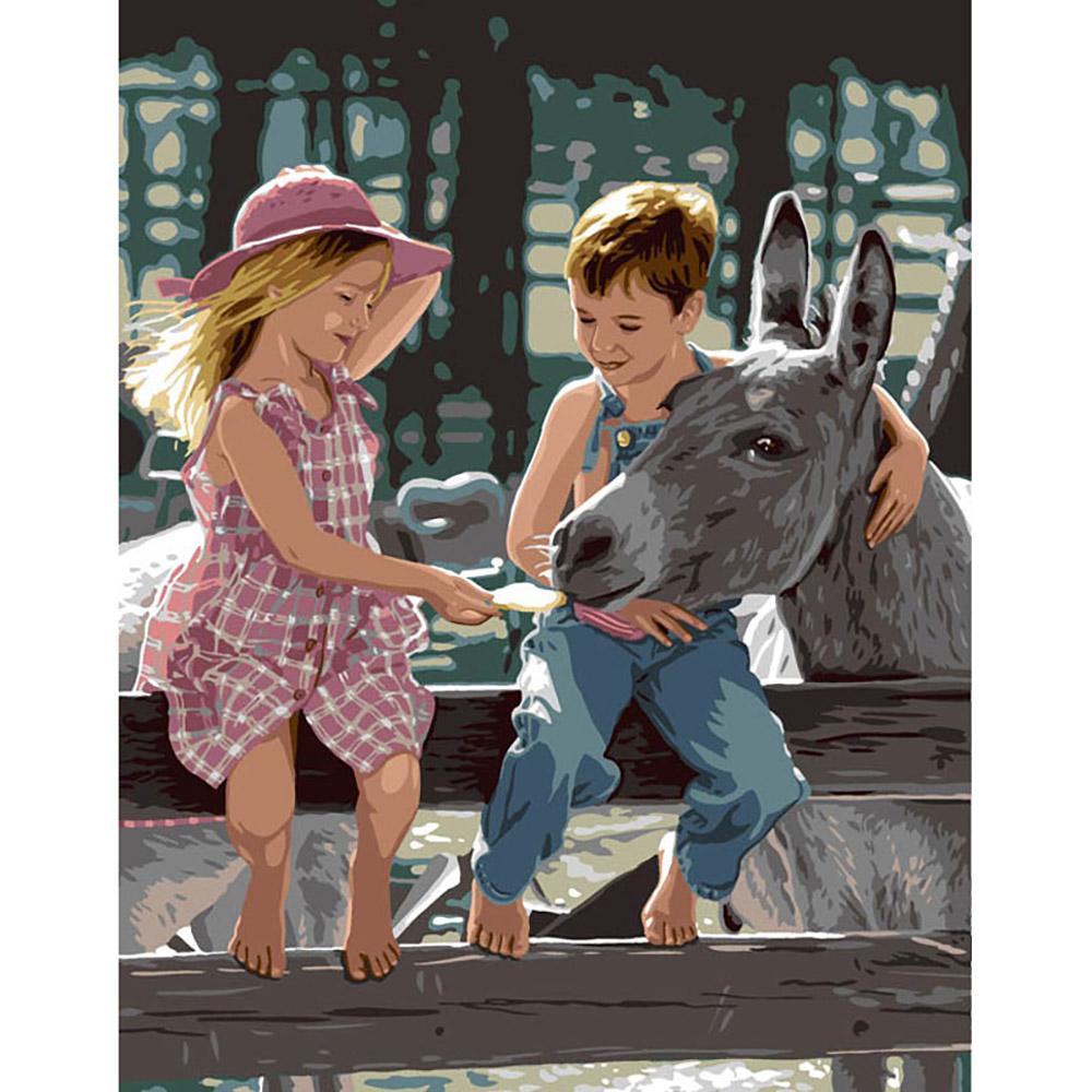 9880-0142-0540 Канва с рисунком Royal Paris 'Угощение для ослика' 47,5х37 см
