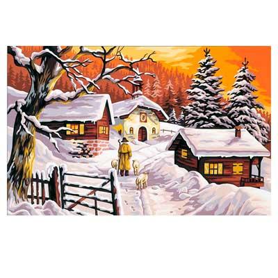 9880-0146-0071 Канва с рисунком Royal Paris 'Зимняя деревня' 48х75 см