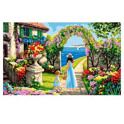9880-0146-0075 Канва с рисунком Royal Paris 'Дом на берегу' 48х75 см