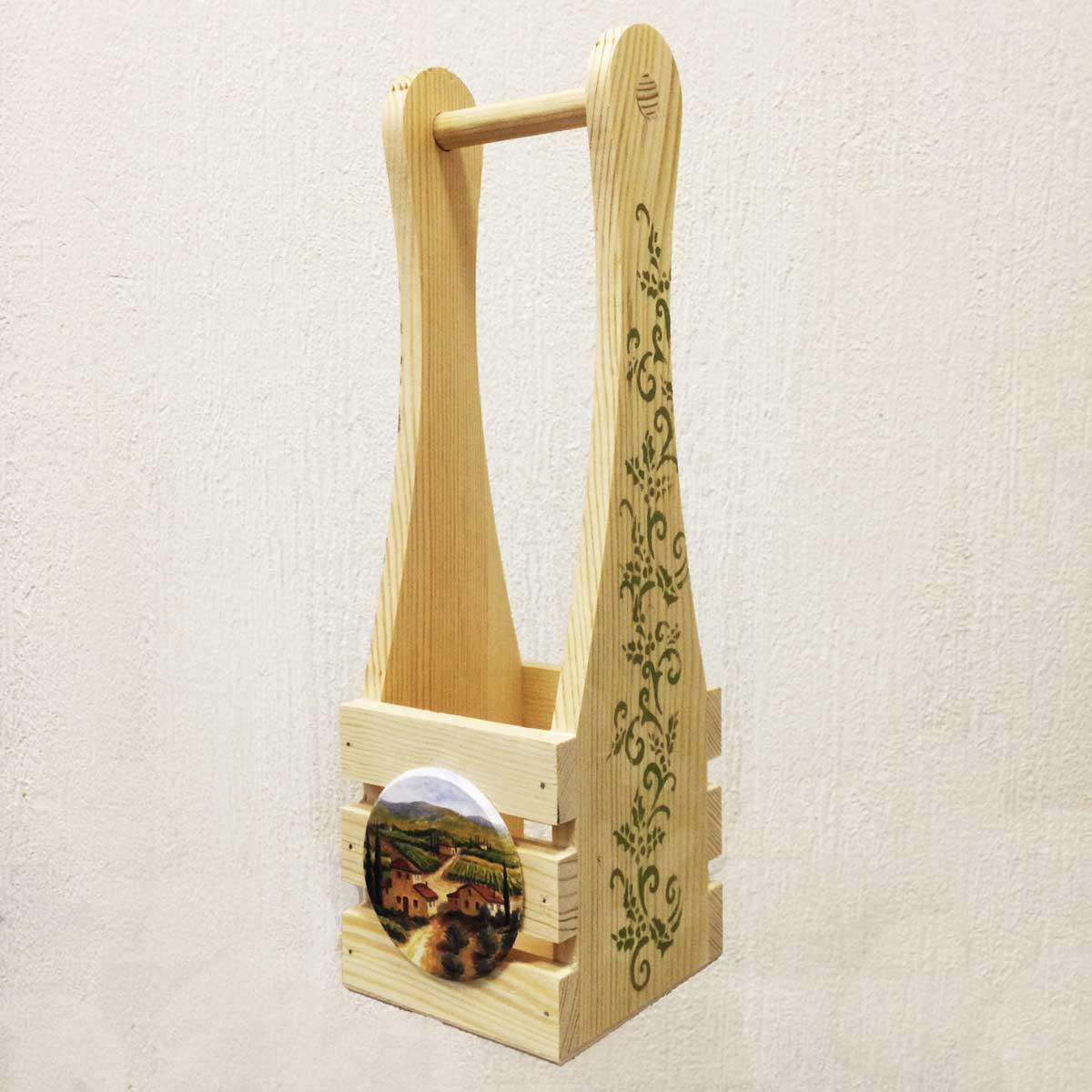 НПР-4 ПРОМЫСЕЛ Ящик для вина реечный с оформлением 37,5х12х11 см