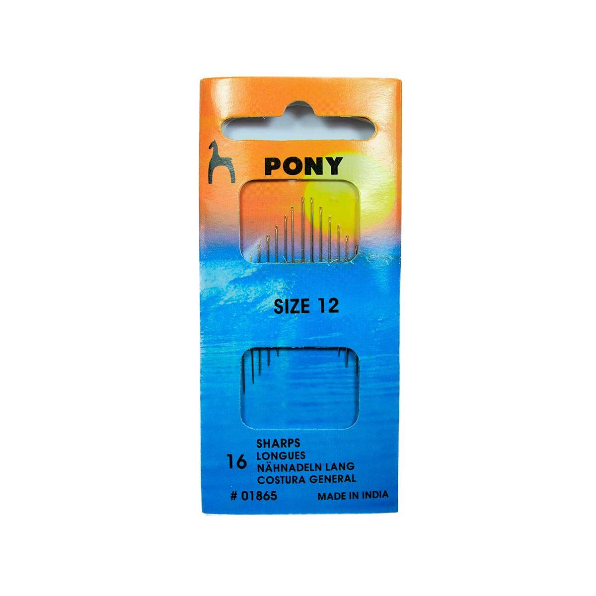 01865 Иглы швейные с острым кончиком № 12, 16 шт PONY