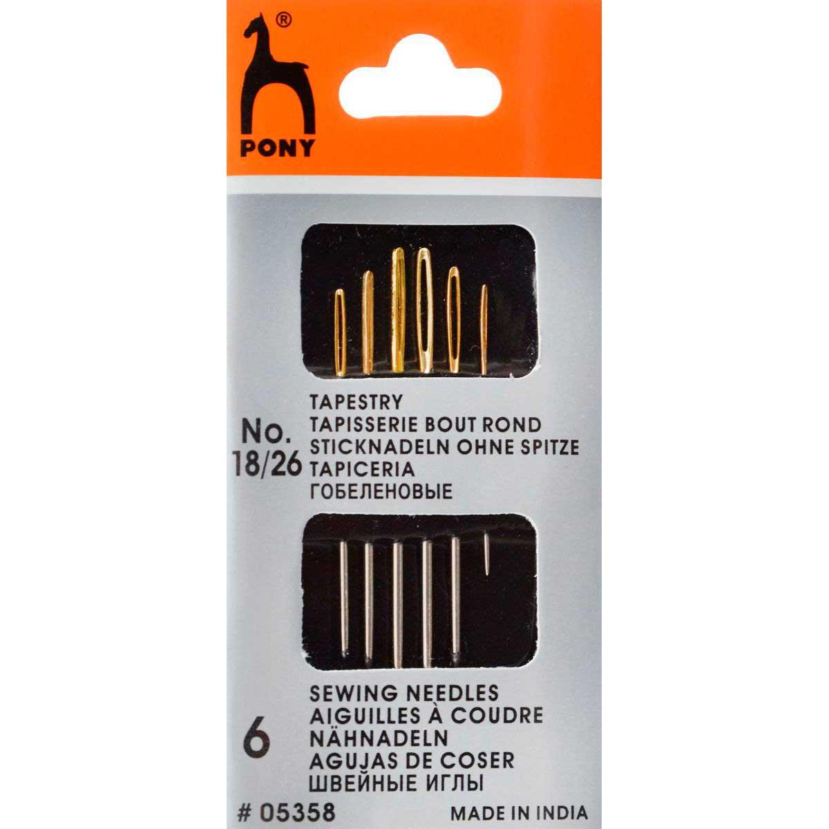 05358 PONY Иглы для гобеленовых и трикотажных тканей № 18-26, 6 шт.
