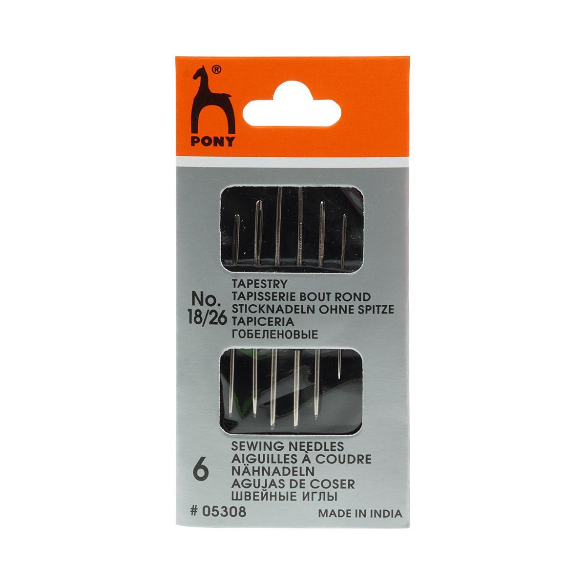 05308 Иглы для гобеленовых и трикотажных тканей № 18-26, 6 шт PONY