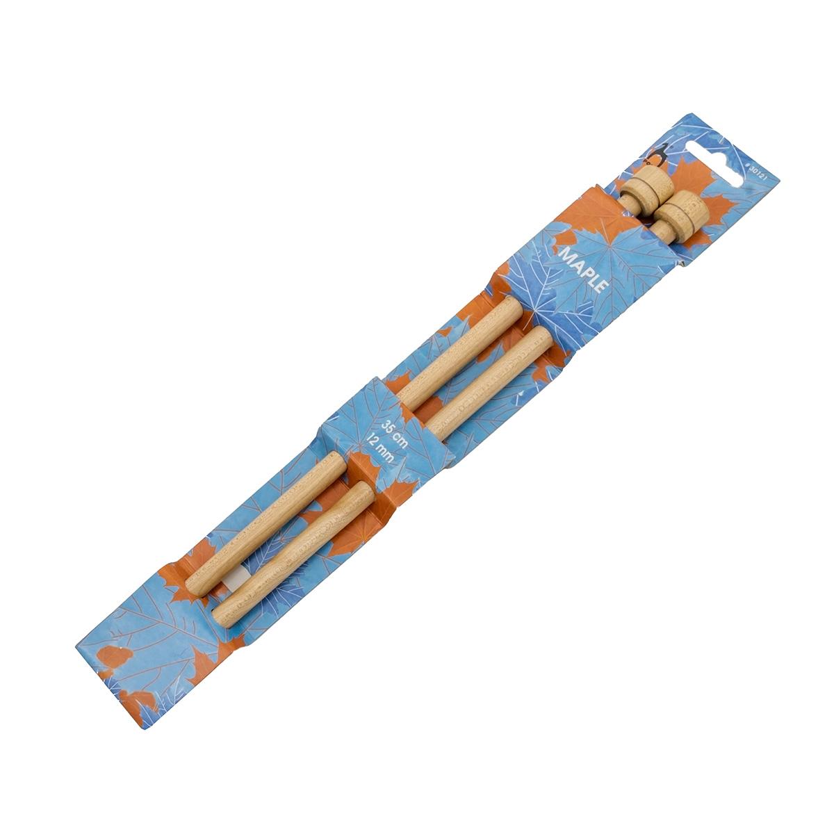 30121 Спицы прямые 12,00 мм/ 35 см, клен, 2 шт PONY