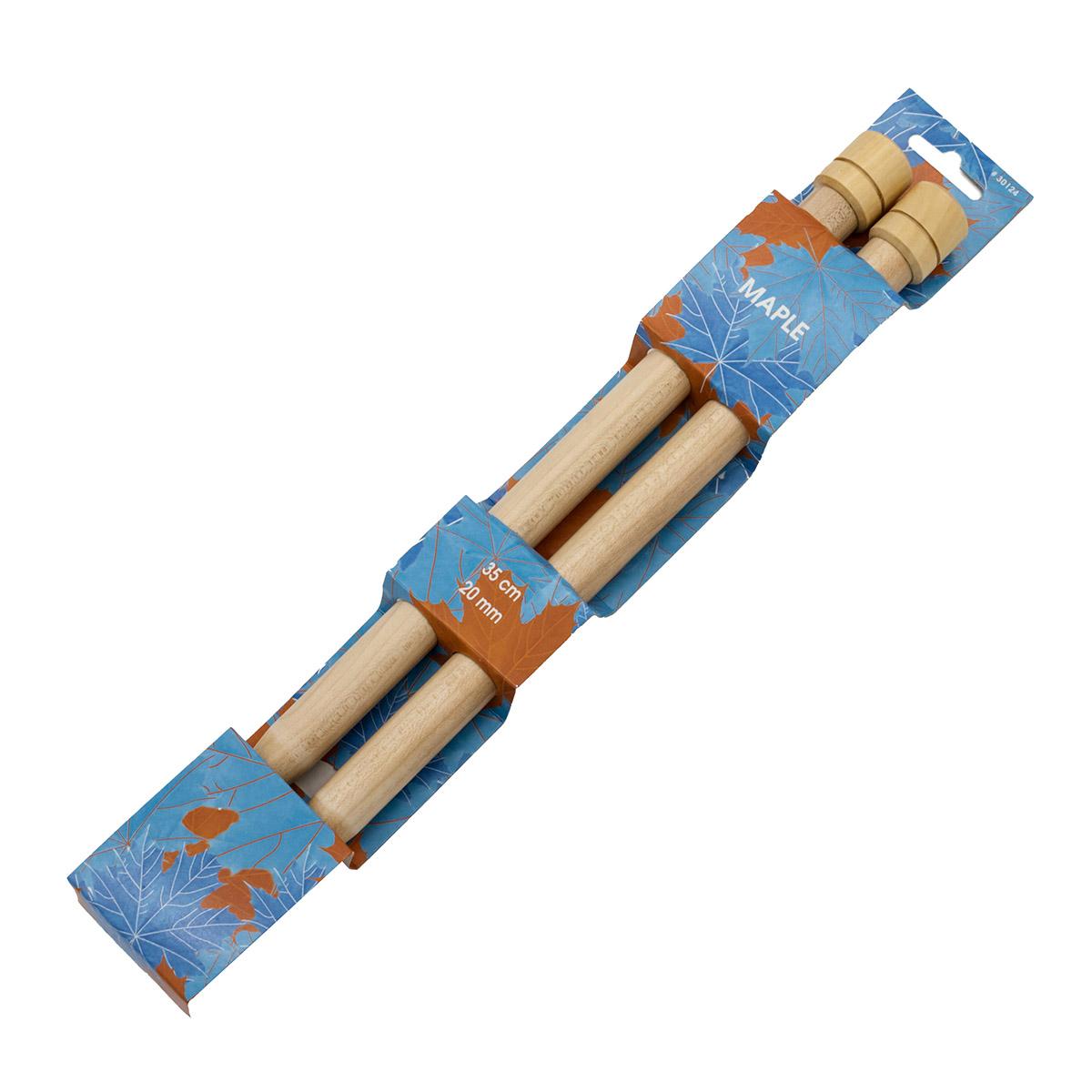 30124 Спицы прямые 20,00 мм/ 35 см, клен, 2 шт PONY