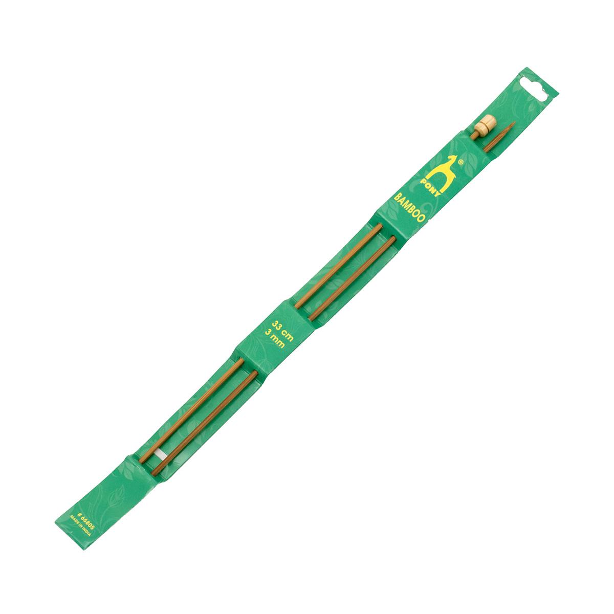 66805 Спицы вязальные прямые 3,00мм*33см, бамбук, 2шт PONY