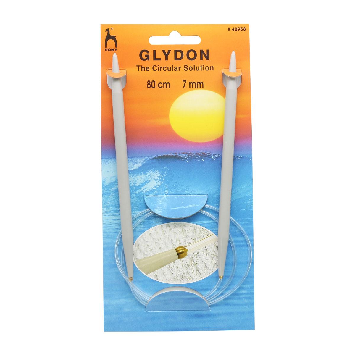 48956 Спицы вязальные круговые GLYDON 6,00мм*80см, пластик PONY