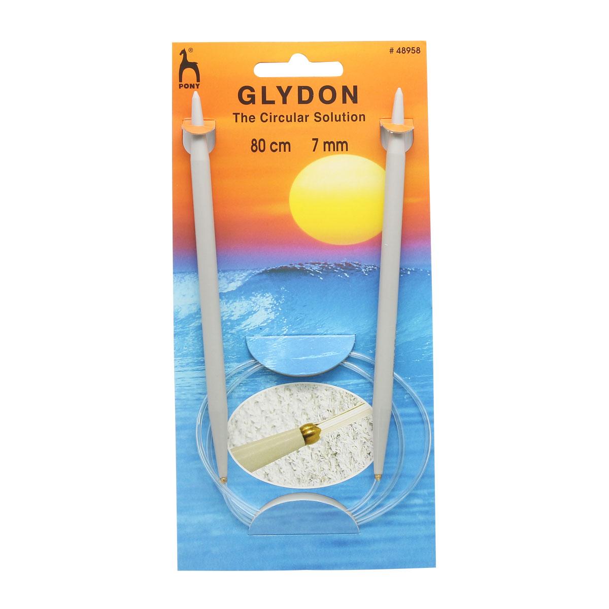 48958 Спицы вязальные круговые GLYDON 7,00мм*80см, пластик PONY