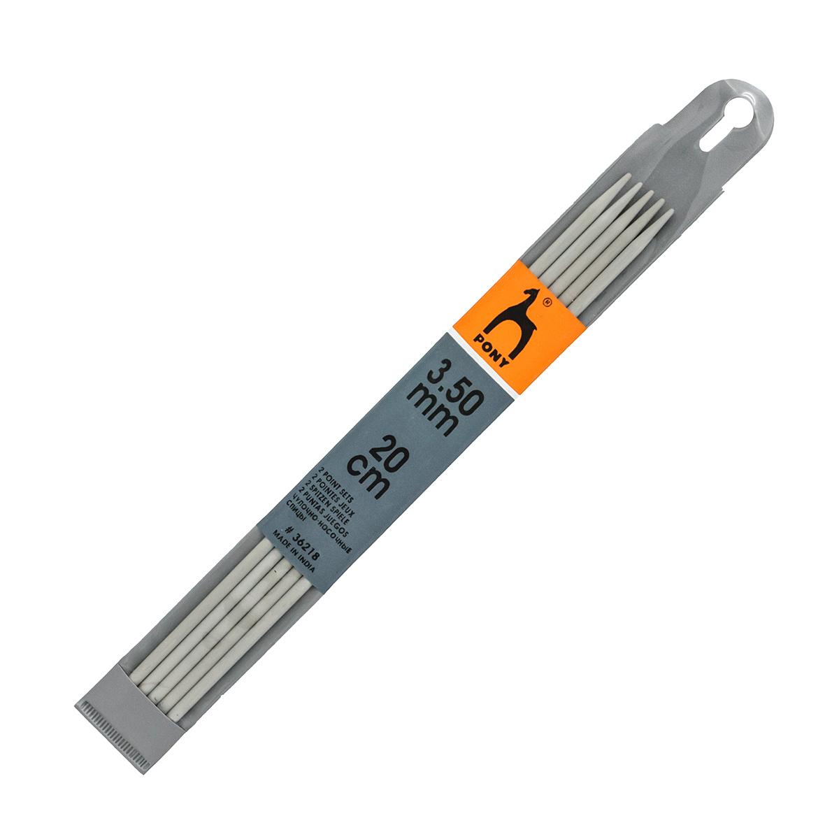 36218 Спицы чулочные 3,50 мм/ 20 см, алюминий, 5 шт PONY